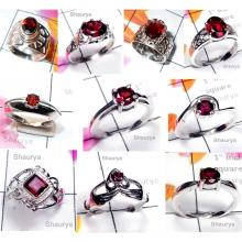 CBP970-10 Pcs. Red Colour Garnet Gemstone 925 Sterling Silver Designer Casting Rings