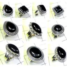 CBP976-10 Pcs. Black Onyx 925 Sterling Silver Wholesale Designer Rings