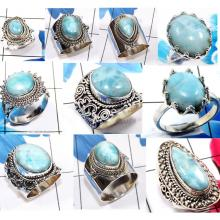 CBP977-10 Pcs. Larimar Gemstone 925 Sterling Silver Wholesale Designer Rings