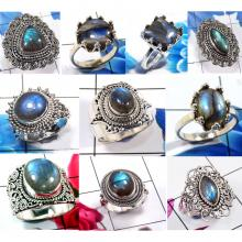 CBP978-10 Pcs. Blue Fir Labradorite Gemstone 925 Sterling Silver Designer Rings