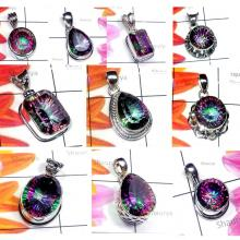 CBP979-10 Pcs. Multicolour Mystic Quartz Gemstone 925 Sterling Silver Pendants