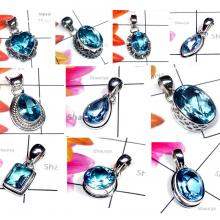 CBP980-10 Pcs. Glorious Blue Topaz Gemstone 925 Sterling Silver Designer Wholesale Pendants