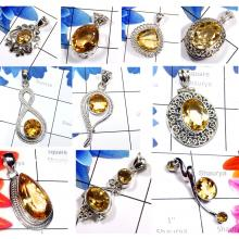 CBP981-10 Pcs. Yellow Citrine Gemstone 925 Sterling Silver Designer Handmade Pendants