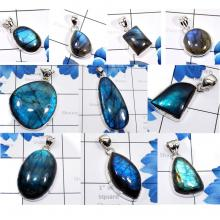 CBP982-10 Pcs. Blue Fire Labradorite Gemstone 925 Sterling Silver Handmade Pendants