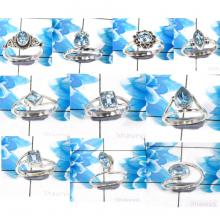 CBP985-10 Pcs.Blue Topaz Gemstone 925 Sterling Silver Wholesale Small Rings