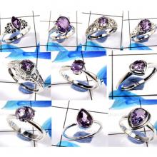 CBP988-10 Pcs. Blue Amethyst Cut Gemstone 925 Sterling Silver Designer Rings