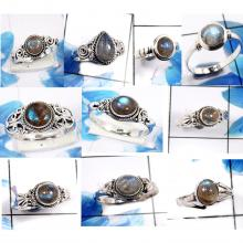 CBP990-10 Pcs. Sparkling Labradorite Gemstone 925 Sterling Silver Small Rings