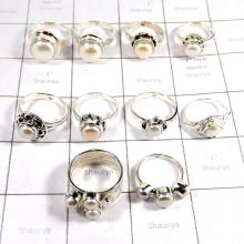 CBP995-10 Pcs Wholesale  Pearl Gemstone 925 Sterling Silver Designer Rings