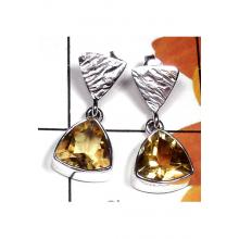 Beautiful Stud silver Citrine gems Earring-CTE007