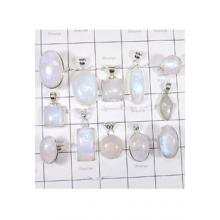 WSL988-925 Sterling Silver Natural Firey Rainbow Moonstone Direct Factory Made Lot Of Pendants and Rings 12 Pcs