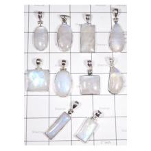 WSL987-100 Gram Wholesale Lot Natural Rainbow Moonstone Pendants 10 Pcs