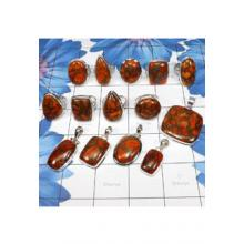 WSL980-Wholesale 100 gram Geniune Copper Red Turquoise Gemstone Rings And Pendants 14 Pcs