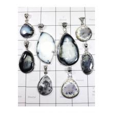 WSL966-Wholesale Lot 100 gram Dendritic Agate With 925 Sterling Silver Pendants 8 Pcs