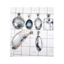 WSL965-Dendritic Agate 100 Gram Wholesale Lot with 925 Sterling Silver Pendants 6 Pcs