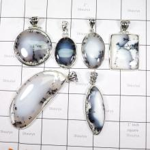 WSL979- Wholesale 925 Sterling Silver Dendritic Agate 100 gram 6 Pcs