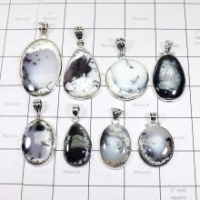 WSL976-Dendritic Agate With 925 Sterling Silver Wholesale 100 gram Pendants 8 Pcs
