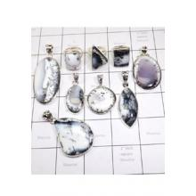 WSL960-925 Sterling Silver Dendritic Agate Wholesale Lot Pendants and Rings 9 Pcs
