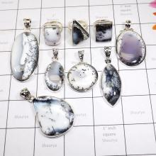 WSL974-100 gram Wholesale Dendritic Agate With 925 Sterling Silver Pendants and Rings 9 Pcs