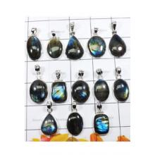 WSL969-100 gram Combo Wholesale Lot Natural Fire Labradorite Pendants with 925 Sterling Silver 13 Pcs