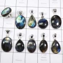 WSL982-100 gram Natural Fire Labradorite wholesale With 925 Sterling Silver Pendants and Ring 10 Pcs