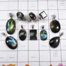 WSL987-A- 925 Sterling Silver Natural Fire Labradorite 100 Gram Combo Lot Wholesale Pendants and Rings 10 Pcs