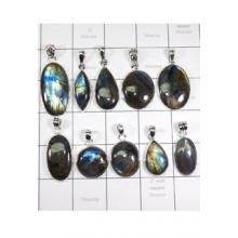 WSL974-925 Sterling Silver Natural Fire Labradorite 100 gram Wholesale Lot Pendants 10 Pcs