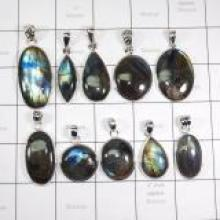 WSL985-925 Sterling Silver Natural Fire Labradorite Wholesale Combo Lot Pendants 10 Pcs
