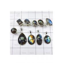WSL971-Natural Fire Labradorite Wholesale Combo Lot 100 Gram Rings And Pendants Made In India 10 Pcs