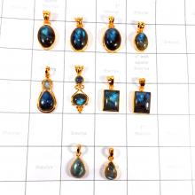 CBP997-10 Pcs Labradorite Gemstone  925 Sterling Silver Gold Plated Wholesale Pendants