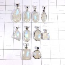CBP994-10 Pcs Rainbow Moonstone Gemstone 925 Sterling Pendants Wholesale Lot
