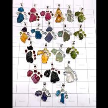 CBP993-20 Pcs Mix Rough Gemstone 925 Sterling Silver Colourful Pendants