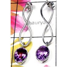 Amethyst faceted gems silver Earring-IAE001