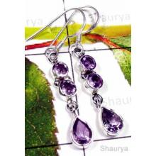 Faceted Amethyst with 925 silver Earring-IAE004