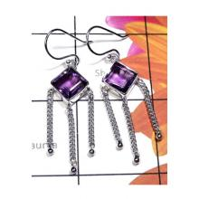 Faceted Amethyst Silver Chain Earring-IAE011