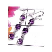 Amethyst with 925 silver Bejal Earring-IBE056