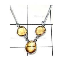 Citrine gemstone Bejal silver Necklace-IBN003