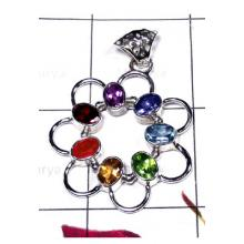 Faceted gems silver Checkra Pendant-ICHP011