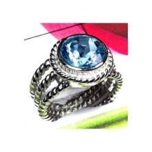 Cut Blue Topaz 925 Sterling Silver Ring-ICR010