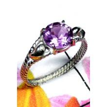 Faceted Amethyst silver Ring-ILR041