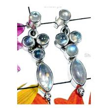 Beautiful Rainbow moonstone stud silver Earring-IRE007