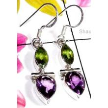 Faceted gems silver Earring-ISE013