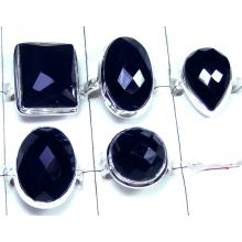 Onyx Chaker cut gemstone silver Rings Value Pack-JVR022