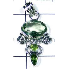 Faceted Green Amethyst Pendant-LCP001