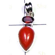 Red Coral gemstone Pendant-LCP008M