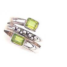 Faceted Perridot Ring-SSQBR222