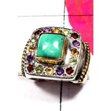 Turquoise with Multi stone Two Tone Ring-R805