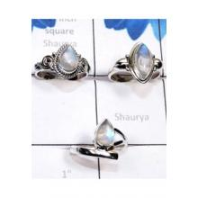 RBS781-Wholesale Lot 3 Pcs Lightweight Rings Rainbow Moonstone Cab Gemstone With 925 Sterling Silver