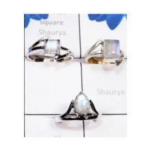 RBS780-3 Pcs Lightweight Beautiful Rings Rainbow Moonstone Cab Gemstone With 925 Sterling Silver Wholesale Lot