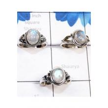RBS779-Rainbow Moonstone Cab Gemstone With 925 Sterling Silver 3 Pcs Beautiful Lightweight Rings Wholesale Lot