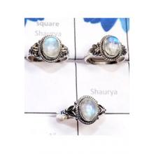 RBS777-Lightweight 3 Pcs Rings Rainbow Moonstone Cab Gemstone With 925 Sterling Silver Wholesale Lot